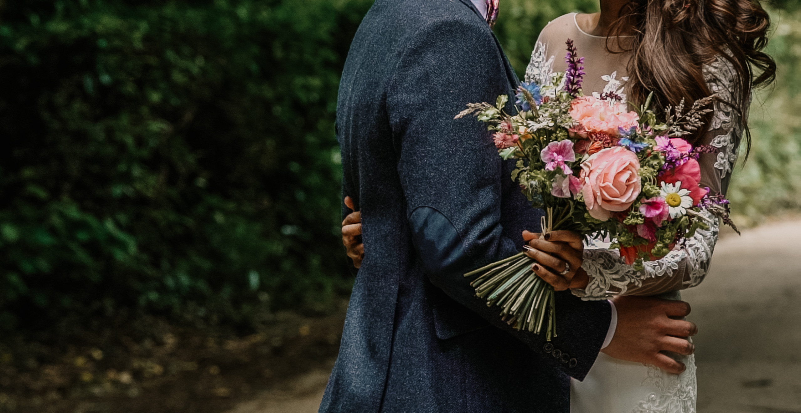 Boho, wild flower bouquet, lace wedding dress, tweed groom suit
