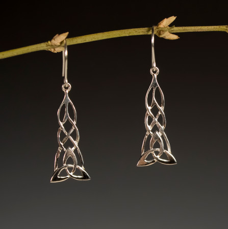 Sterling silver Celtic inspired earrings. Design is carved by hand.  Price: $100
