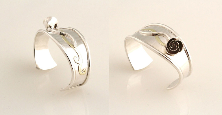 Sterling silver, brass.