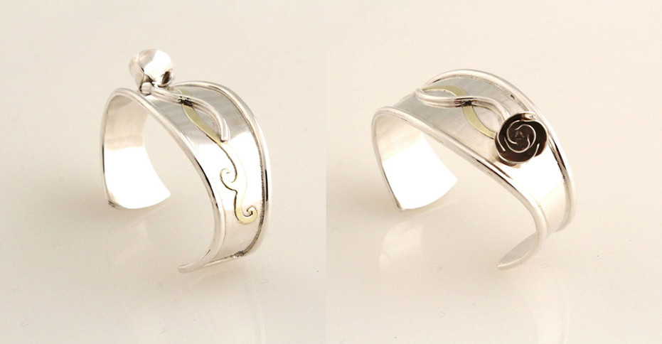 Sterling silver cuff bracelet with brass accent.  Price: SOLD