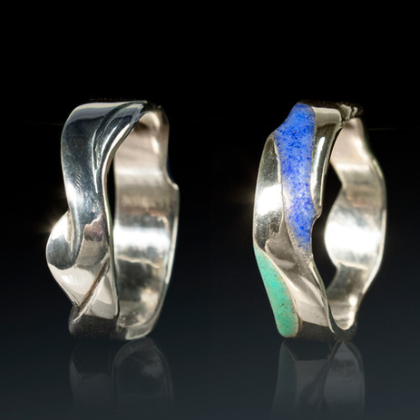 Sterling silver hand-carved ringband with crushed stone inlay - lapis lazuli and turquois.  Ring Size US: 8 Price: $80