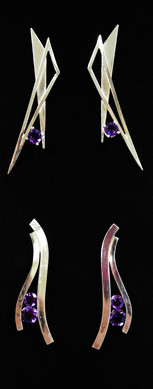 Sterling silver post earrings with round amethyst.  Price (top pair): $80 Price (bottom pair): $100