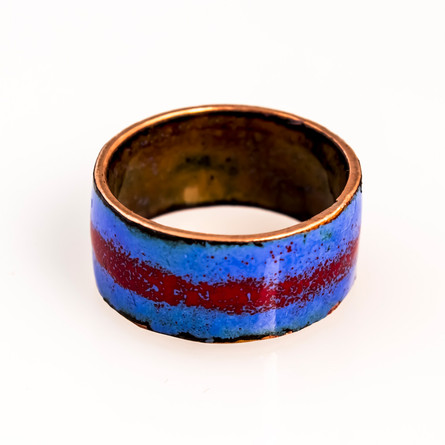 Copper ring with enamel coloring.  Ring Size US: 7.5 Price: $45