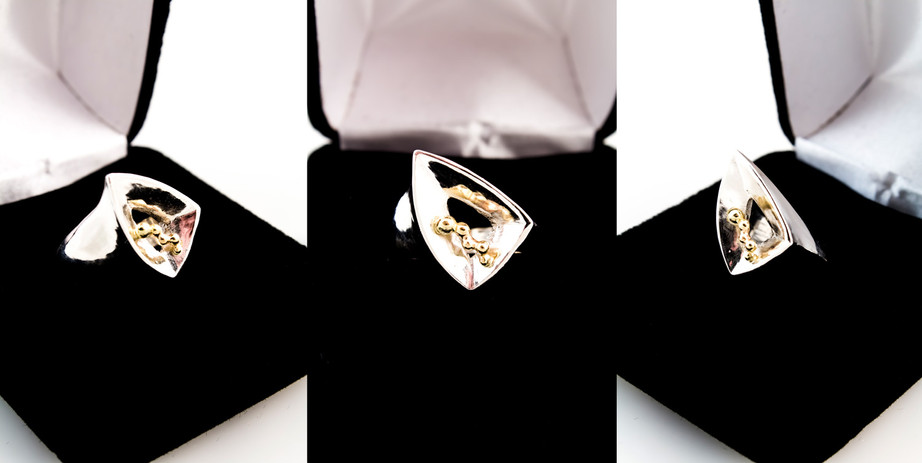 Sterling silver, 18k yellow gold.