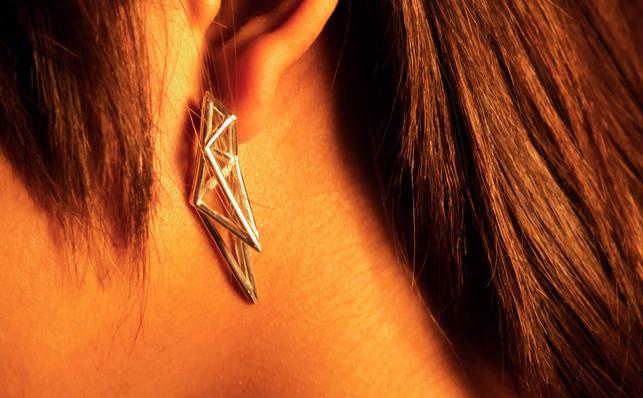 Cast sterling silver earring.