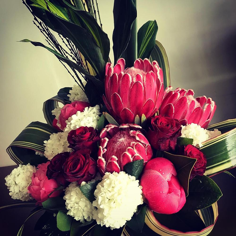 Peony, rose, protea and Pom Pom