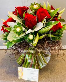 Fish Bowl Vase  Red Roses