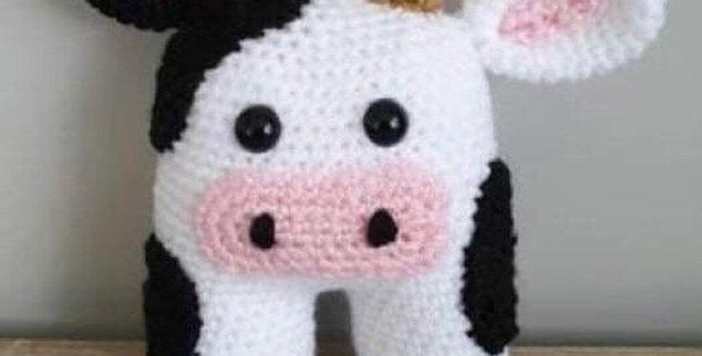 Cow Crochet rattle toy