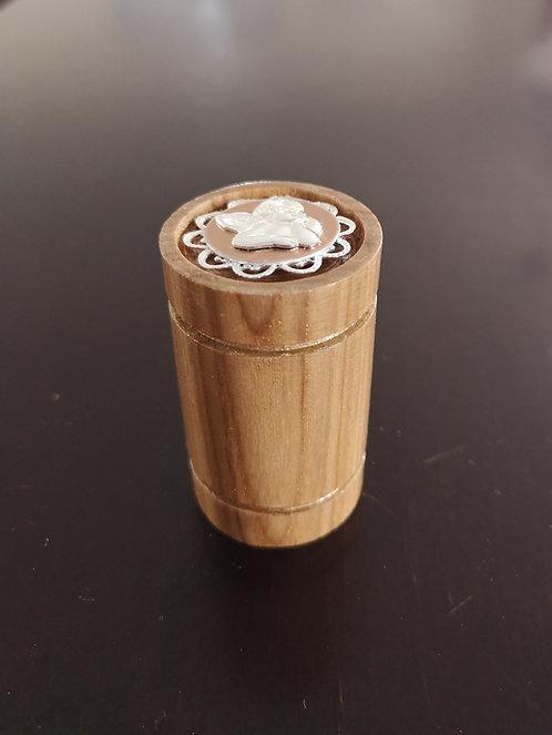 Reliquaire en bois tourné vintage Ange