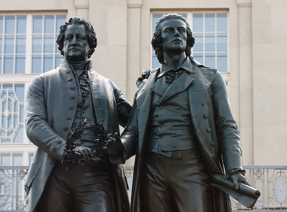 Goethe, Schiller, thinkers, poets, the land of poets and thinkers, germany, statue