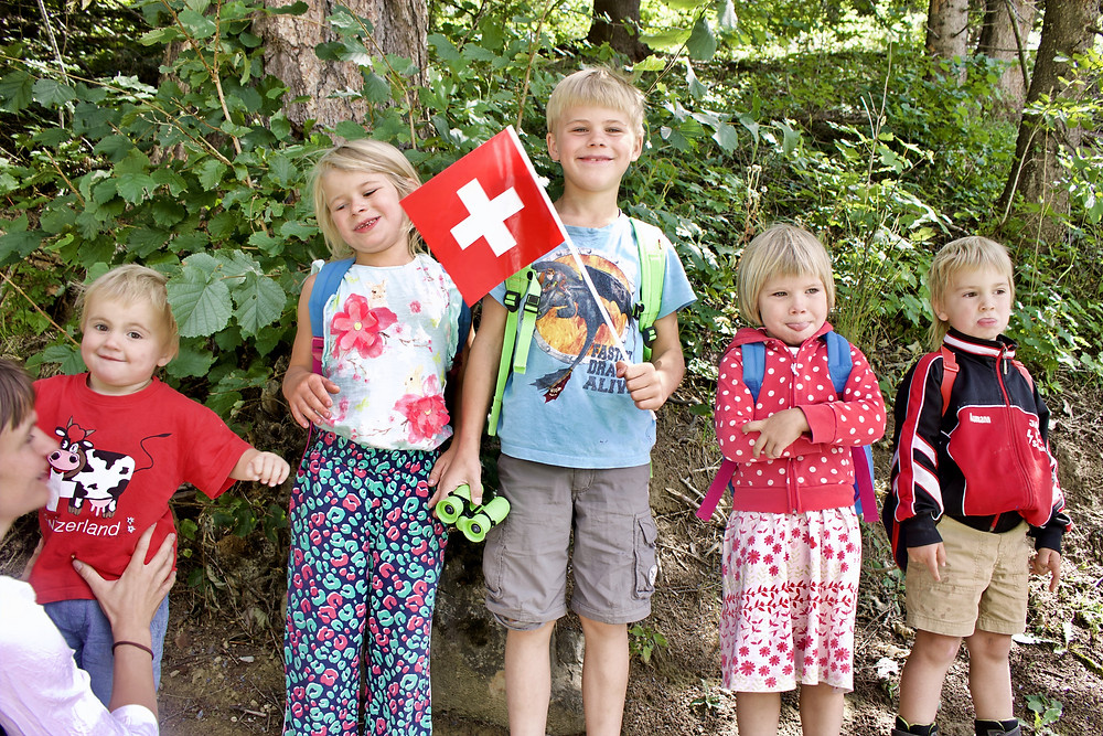 children, mountains, switzerland, forest, hiking, travel, family