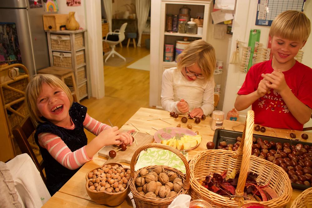 chestnuts, nuts. happy children, handcrafting, handicraft