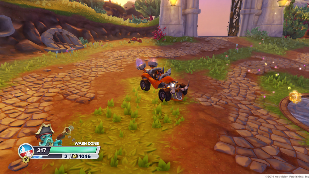 reference image of the Skylanders Swap Force HUD (with Fryno in an early prototype car)
