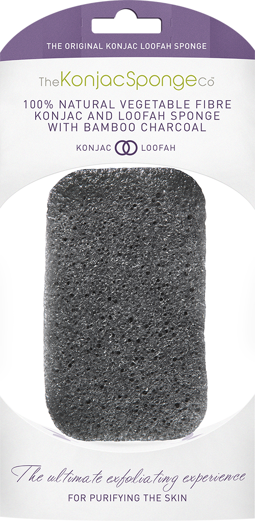 Konjac and Loofah Body Sponge with purifying bamboo charcoal