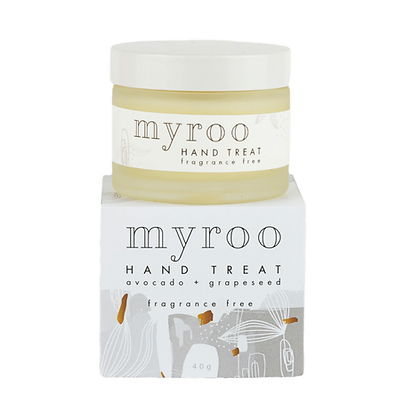 Myroo fragrance free hand treat with avocado oil and grapeseed oil