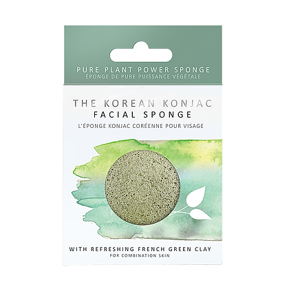 Konjac facial sponge infused with french Green clay for combination skin and those with an oily t-zone skin