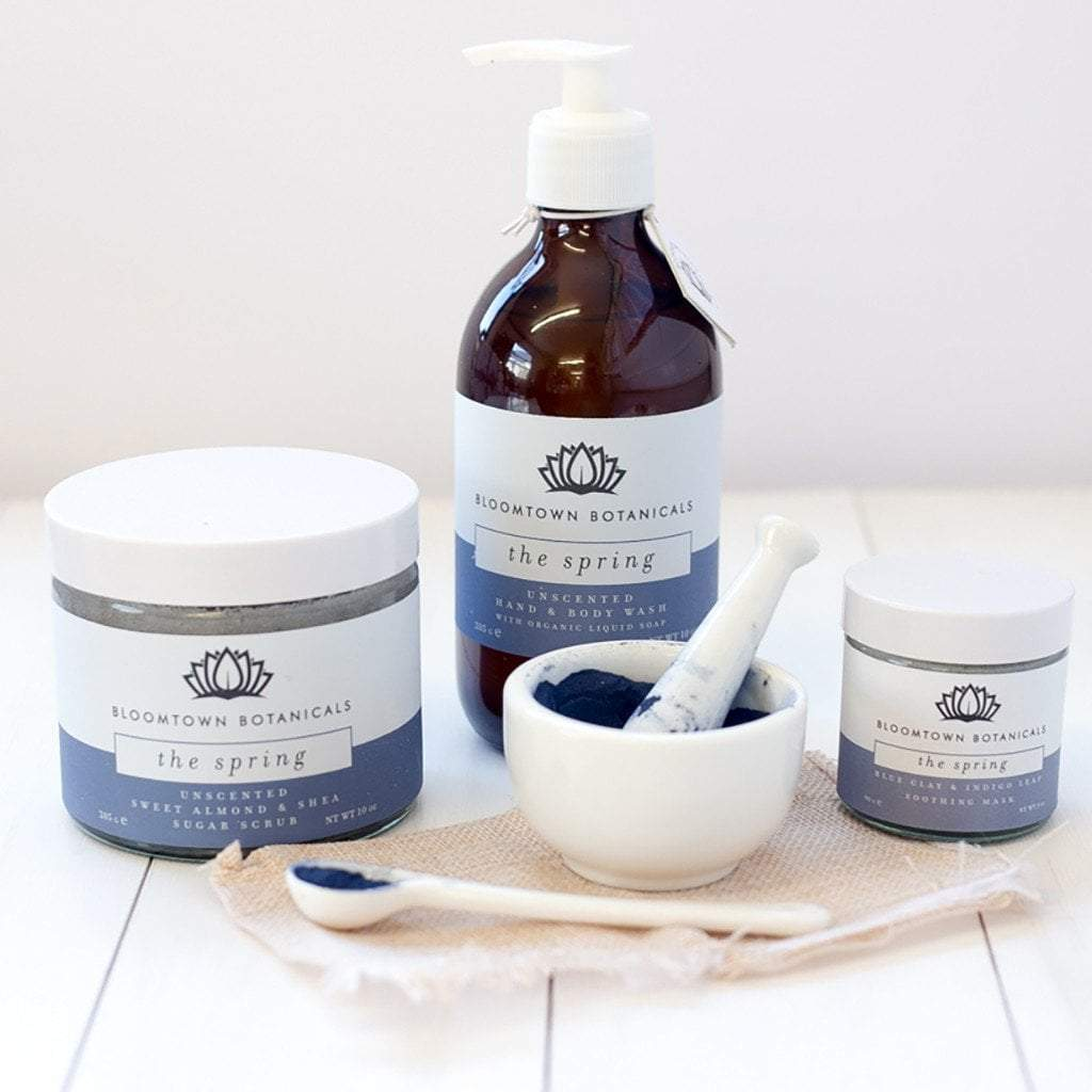 Bloomtown 'The Spring' range of unscented products with Indigo Leaf