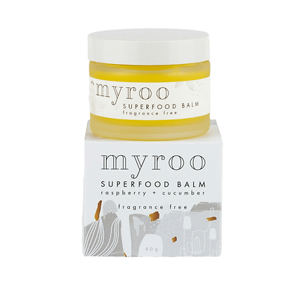 Myroo fragrance free superfood skin balm with raspberry oil and cucumber oil