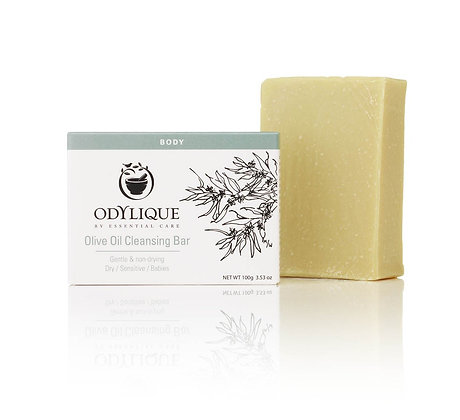Odylique fragrance free olive oil cleansing bar with extra virgin olive oil and cocoa bean butter
