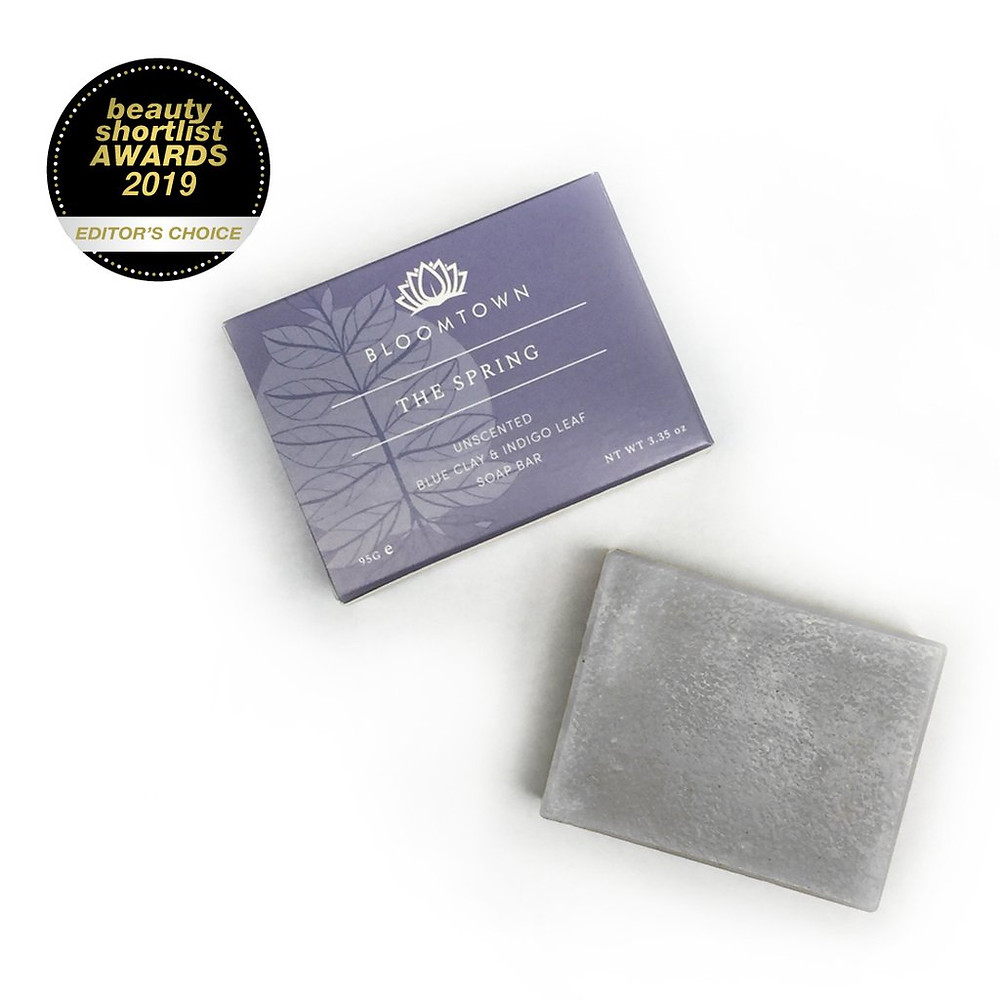 Bloomtown ('The Spring') Unscented Blue Clay & Indigo Leaf Soap Bar
