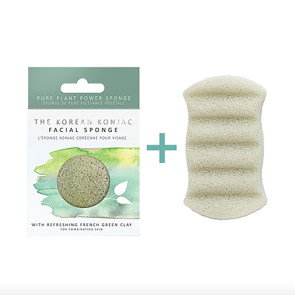 Konjac Face and Body Sponge Duo infused with French Green Clay