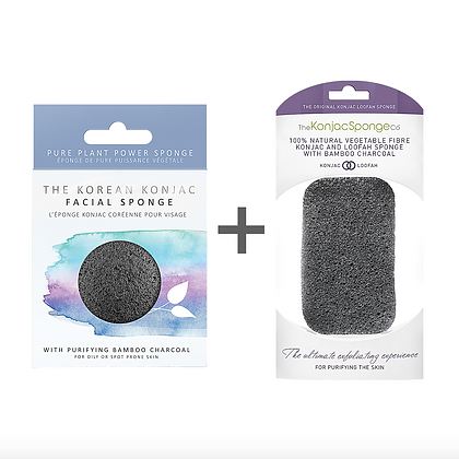 Konjac Face and Body Sponge Duo infused with Bamboo Charcoal