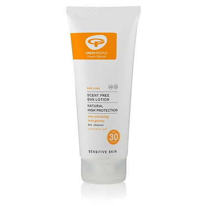 Green People Scent Free SPF 30 Sun Lotion With; Aloe Vera, Sunflower, Avocado, Rosemary, Edelweiss, Chamomile and Green Tea