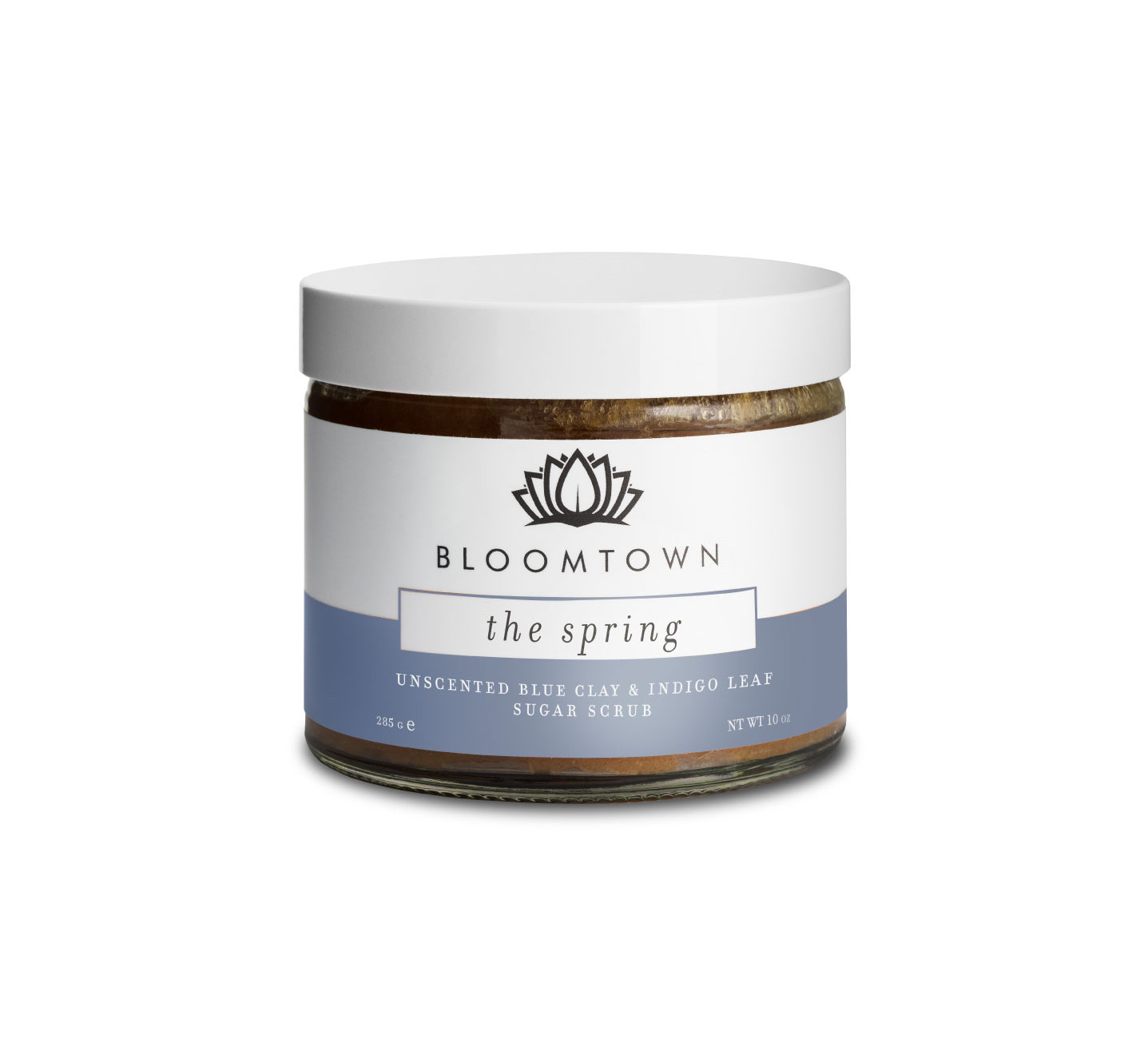 Bloomtown ('The Spring') Unscented Blue Clay and Indigo Leaf Sugar Scrub