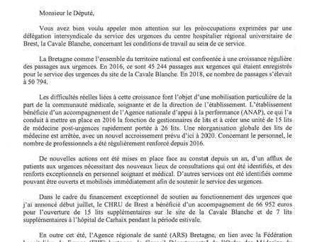 Urgences de Brest, réponse d'Agnès Buzyn, ministre Ministre des Solidarités et de la Santé