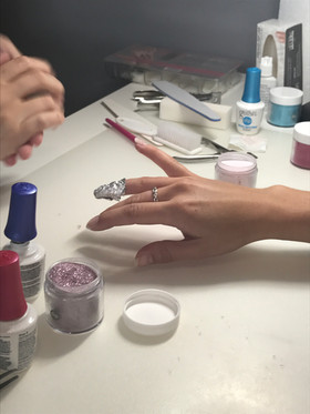 Dipping away on a great Gelish Dip Course.