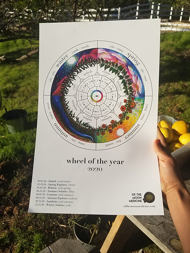 Wheel of the Year + Moon Phase Calendar 2020  [11x17 Print]