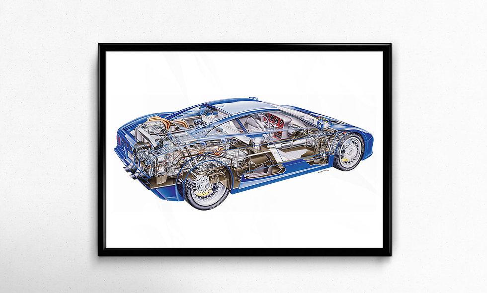Bugatti EB110 (1991) Limited Edition Paper Print