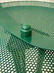 Detail to show green dyed nylon nut cover on bird table