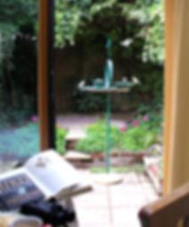 Birds on Larkrise Birdtable seen from indoors