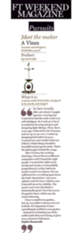 FT Weekend magazine - an article about us