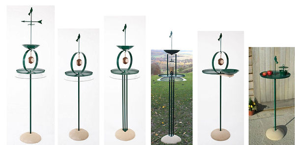 Six Bird Tables in a horizontal row