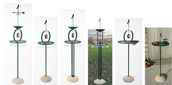 Six Bird Tables in a horizontal row