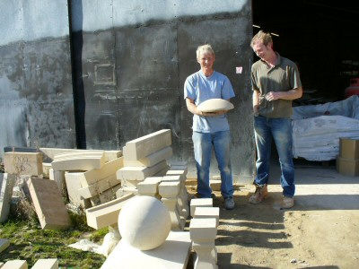 Warren Mantle with a stone bird table base he as made for us