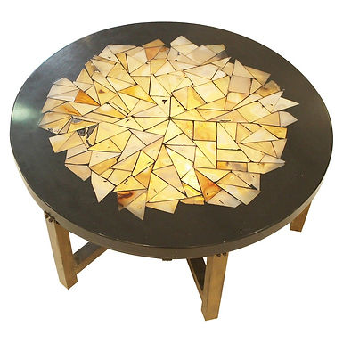 Illuminated Black Resin coffee table  with tessellation by Ado Chale