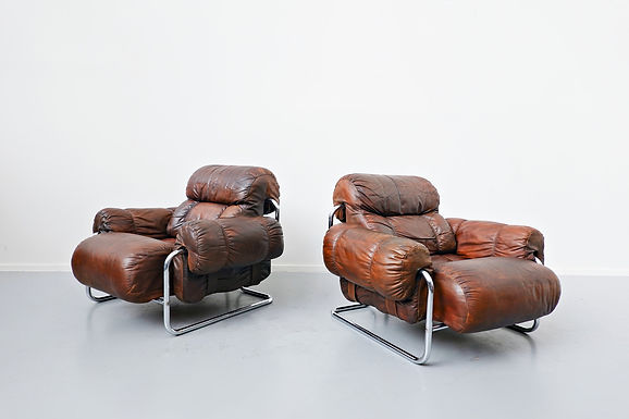 1950's Italian Leather Chairs by Guido Faleschini