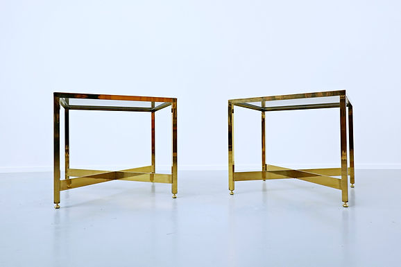 1970's Pair of Brass Side Tables