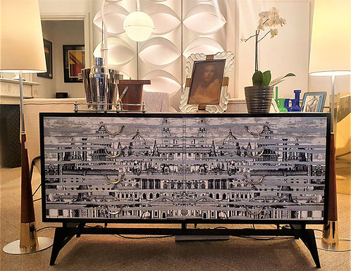 Mid Century chest of drawers in the style of Fornasetti