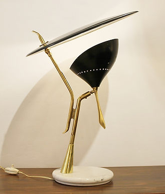 Mid Century Lumen Lamp in Brass and Marble