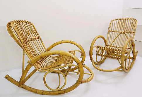 1970's Rocking Chair in Rattan