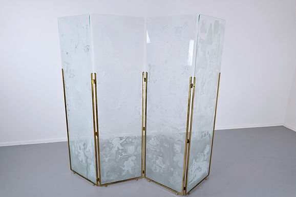 Belgian Foldingscreen Composed Of Four Engraved Glass Panels