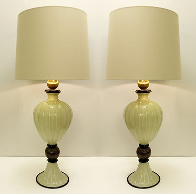 Pair of Large Murano Glass Table Lamps