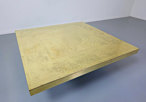 1970's brass  coffee table by George Mathias