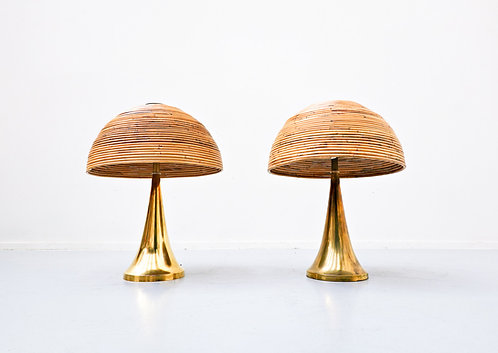 Brass and Rattan Table Lamps