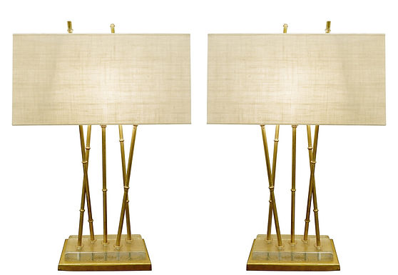 """Pair of Contemporary """"Bamboo"""" lamps"""