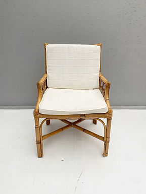 Pair of Rattan and Cane Dining Chairs